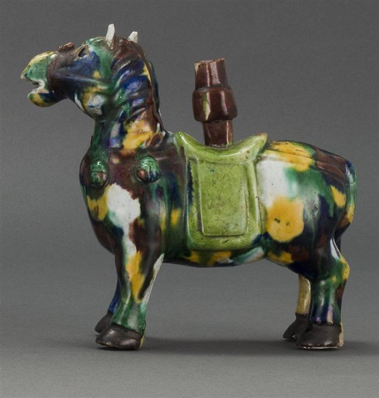WUCAI PORCELAIN JOSS STICK HOLDER In the form of a caparisoned horse. Height 6.5