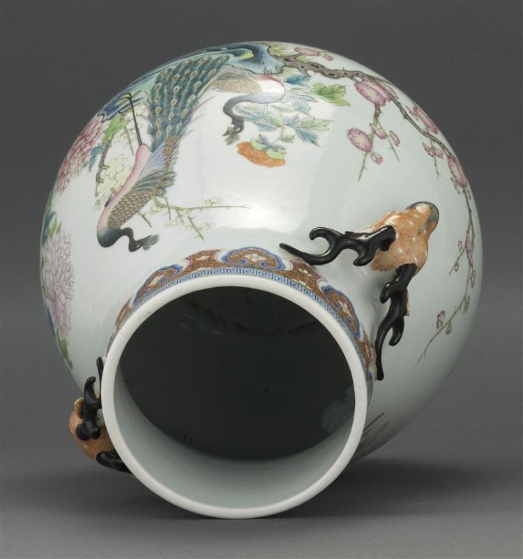 Famille Rose Porcelain Vase In Ovoid Form With Deer Head Han