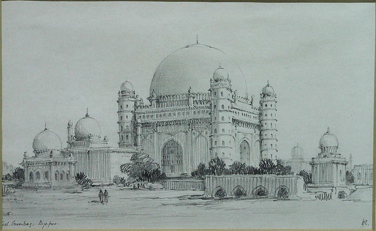 A Framed Pencil Sketch Gol Gumbaz
