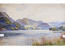 Edward G Hobley STEAM LAUNCH ON CUMBRIAN LAKE