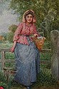 A watercolour drawing, farmers daughter, signed, A. D. Bastin, Click for value