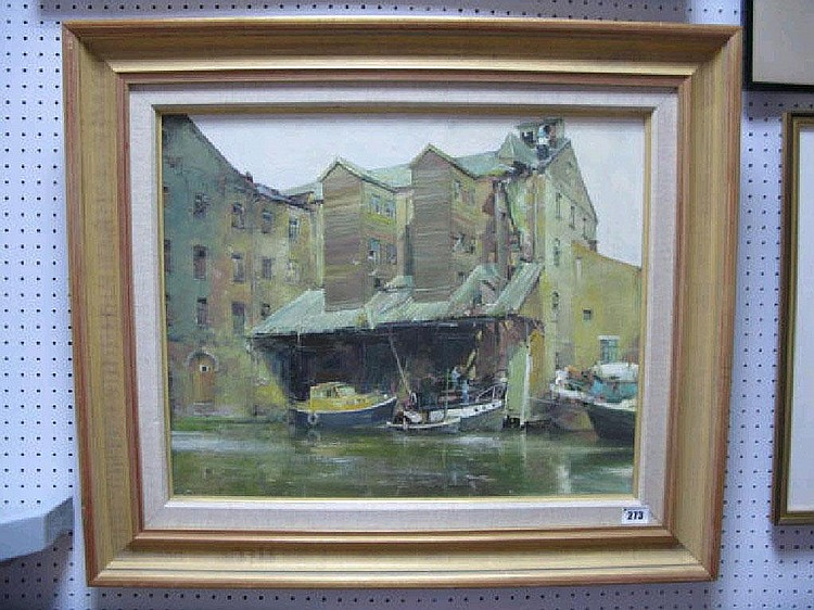 DAVID J CURTIS (b.1948) Wharfeside buildings,