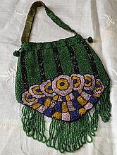 Victorian Beaded Handbag/Green Stripe