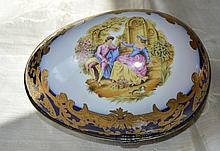 Limoges Porcelain Covered Egg w/Courtship Scene