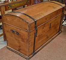 Early Large Dome Top Wooden Trunk