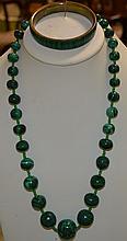 Strand of Carved Malachite Beads & Bracelet