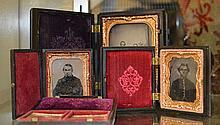 3 Daguerreotype Cases w/Loose Tin Types