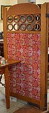 Oak Trim 2 Panel Screen w/ Cut velvet