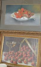 2 Pc. Framed Strawberry Paintings