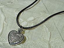 18 Kt. White Gold Diamond Heart on Leather
