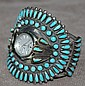 Turquoise Silver Signed Cuff Watch Holder