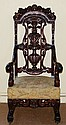 Heavily Carved Mahogany Throne Arm Chair