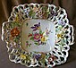 Dresden Porcelain Cut Work  Handpainted Footed Dish