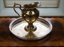 Silver Tray and Pitcher