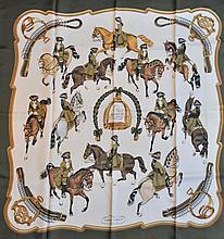 HERMES, paris - carré de soie, 90 x 90 cm, thème  reprise  signé Ledoux, bord ka