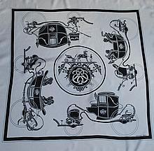 HERMES, paris - carré de soie, 90 x 90 cm, thème  Ex Libris , noir et blanc, bel