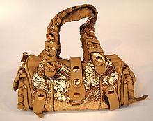 CHLOE - célèbre sac silverado en python mordoré et cuir beige, deux poignées tra