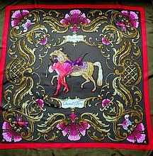 HERMES, paris - carré de 90 x 90 cm, 100% soie, thème  cheval turc , fond marron