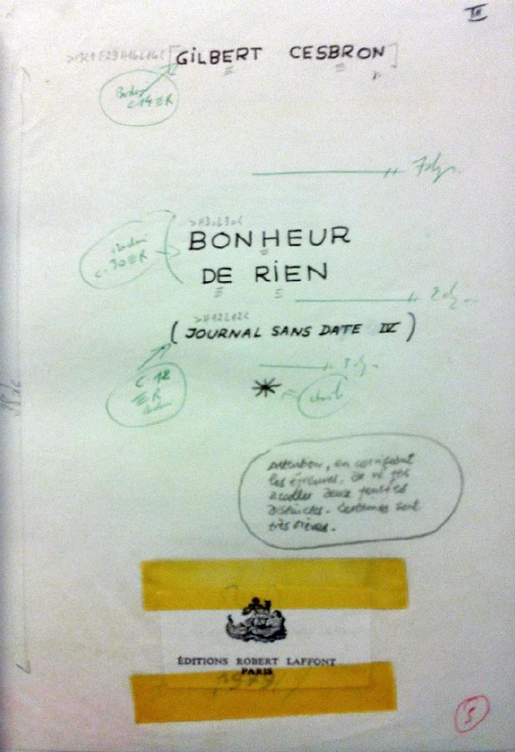 CESBRON Gilbert (1913-1979) Manuscrit autographe complet de «Bonheur de rien,