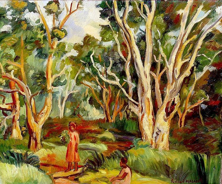 Roland MASCART (1909- ?) Sous bois des Niaoulis, Nouvelle Calédonie, 1934. Huile