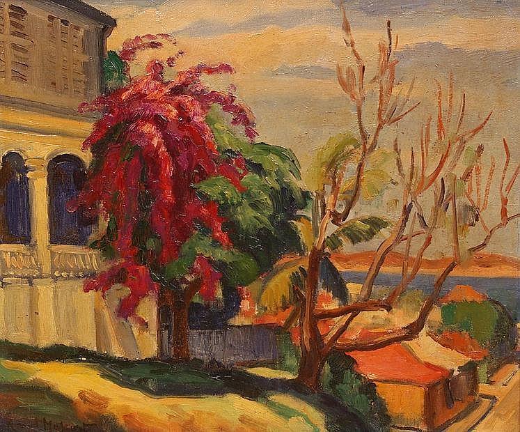 Roland MASCART (1909- ?) Bougainvillier à Nouméa, 1934. Huile sur toile signée e