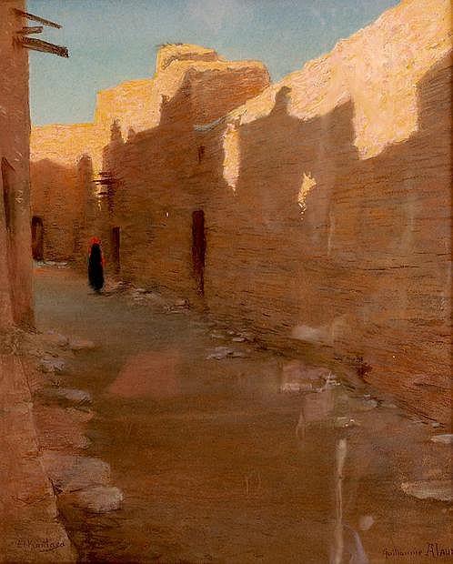Guillaume ALAUX (1856-1912) Rue ombragée à El Kantara. Pastel signé en bas à dro