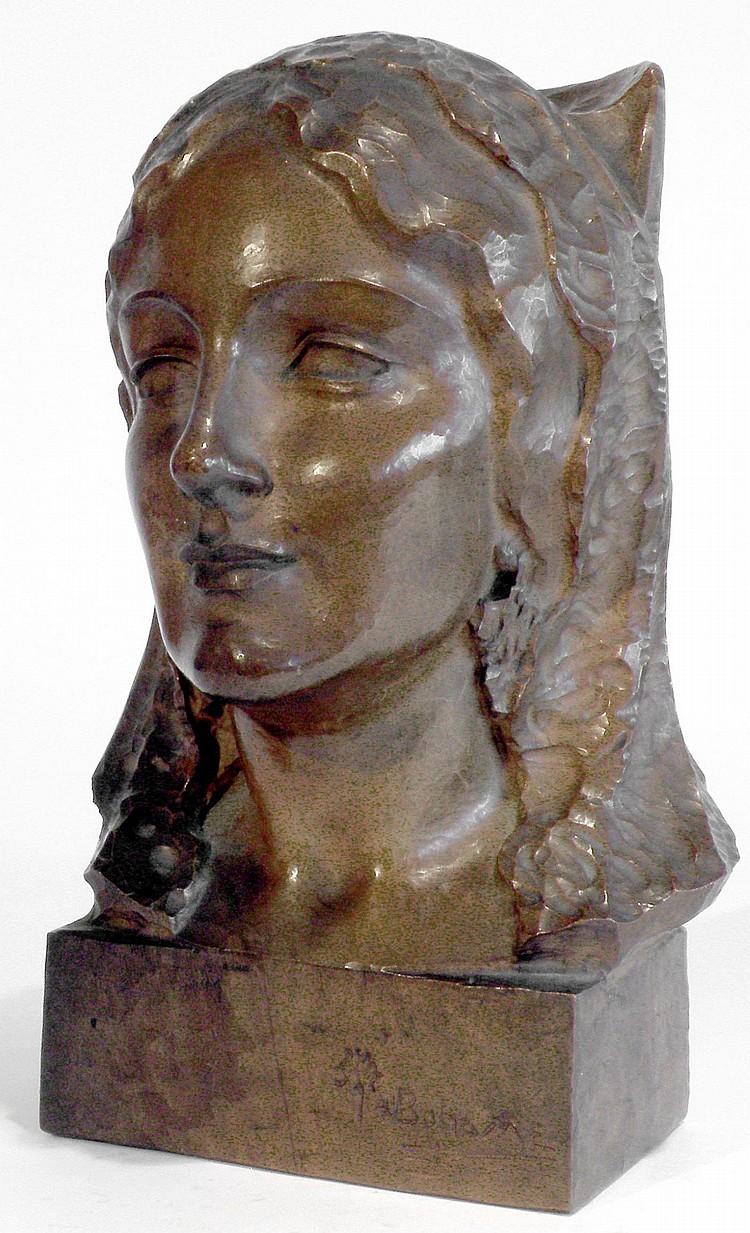 Santiago Rodriguez BONOME (1901-1995) Tête de jeune femme à la coiffe en dentell