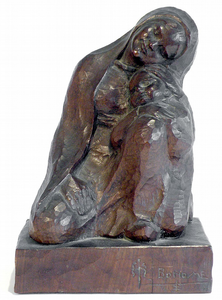 Santiago Rodriguez BONOME (1901-1995) Vierge à l'enfant Sculpture en bois, taill