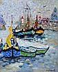 Pierre LASSALE (1939). Honfleur, bateaux à quai. Huile sur isorel signée en bas