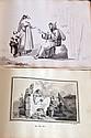 ALBUM de DESSINS vers 1825, à la mine de plomb et à l'aquarelle, soldats, paysag