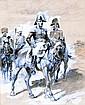 Guido SIGRIST XIXe XXe Cavaliers de l'armée impériale. Zncre et gouache signée e