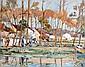 René LEVERD (1872-1938) Paysanne à la brouette près du Loing à Moret. Aquarelle
