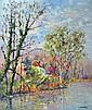 Jean Pierre BORDRY (1934). Au bord de l'étang. Huile sur panneau signée en bas à