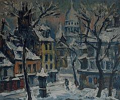 Pedro FLORES (1897-1967) . Montmartre sous la neige.