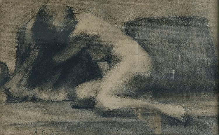 Albert RUBIN (1887-1956)  . Nu agenouillé.