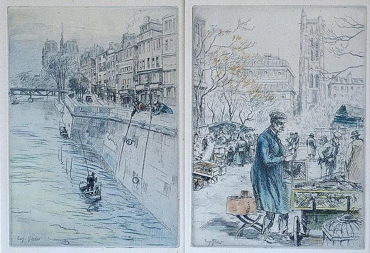 Eugène VEDER (1876-1976) L'oiseleur et les pÍcheur sur la Seine.   Deux eaux-forte