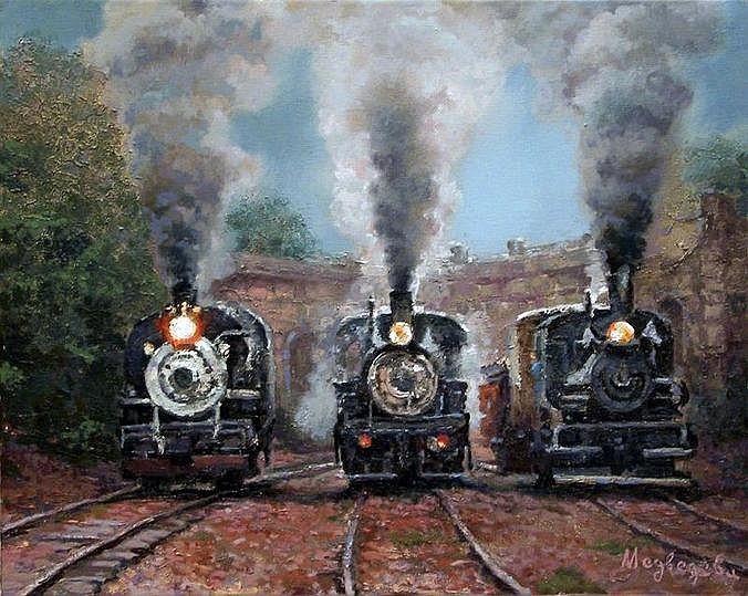 MEDVEDEVA Katia. Locomotives à vive allure. Huile sur toile signée. 50 x 40 cm