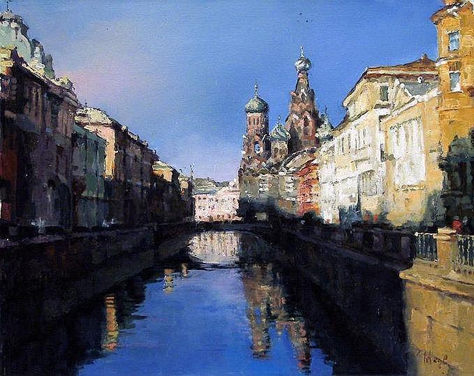 MEDVEDEVA Katia. Reflets sur le canal à Saint Petersbourg. Huile sur toile signée. 40 x 50 cm