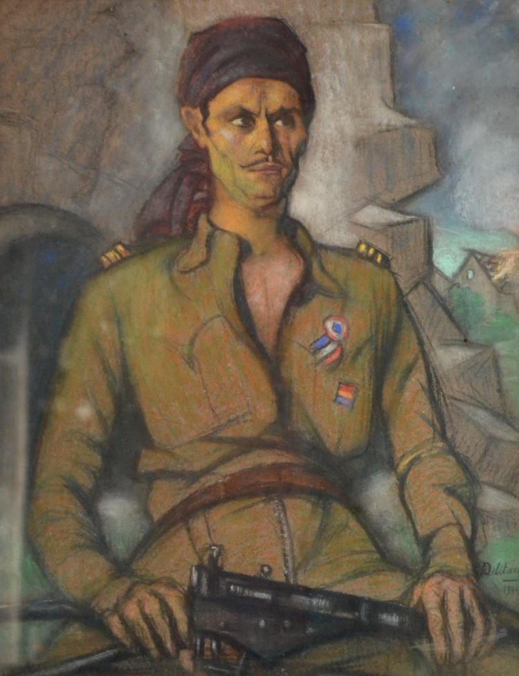 Robert-Adrien DELÉTANG (1874-1951) Chasseur soldat, 1944.