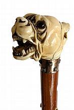 CANNE à pommeau en ivoire représentant une forte tête de dogue (gerces anciens),