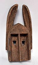 Masque lapin ou lièvre Dogon, Mali, bois dur avec traces de polychromie, utilisé