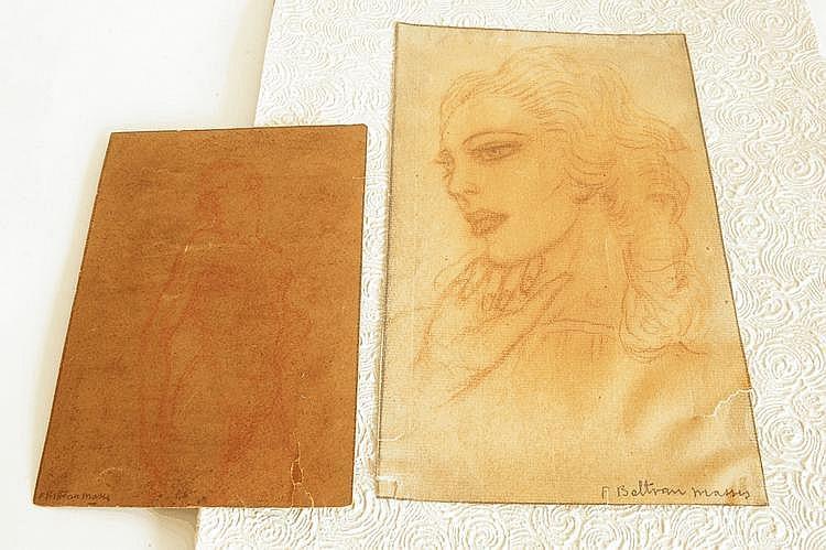 Federico BELTRAN-MASSES (1885-1949). Portrait de jeune femme. Sanguine et crayons signé en bas à droite. (Déchirure). 22,5 x 14 cm. On y joint une étude de nu au crayon rouge signé en bas à gauche. 16 x 11,5 cm