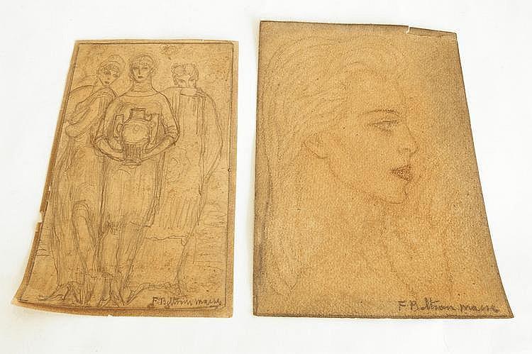 Federico BELTRAN-MASSES (1885-1949). Portrait de jeune femme de profil. Sanguine et crayons signé en bas à droite. (Déchirure). 20,5 x 13,5 cm. On y joint uneétude e trois personnages portant un vase au crayon noir signé en bas à droite. 19 x 11,5 cm