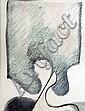Ecole française vers 1960 La peur de la nuit, 1967. Dessin aux crayons portant u