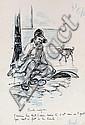 Maurice RADIGUET début XXe. Cruelle énigme. dessin à l'encre rehaussée de bleu s