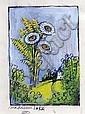 Madelaine LUKA, Fleurs sauvage, gouache signé en bas à gauche. 15 x 10,5 cm