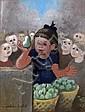 Madeleine LUKA. La petite marchande de poires. Gouache signée en bas à gauche. 3