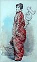 Fernand PAILLET ( 1850-1918). Femme à la robe rouge. Aquarelle monogrammée et da