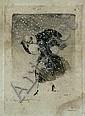 Louis ICART (1888-1950) Elégante dans une tourmente de neige Pointe sèche signée