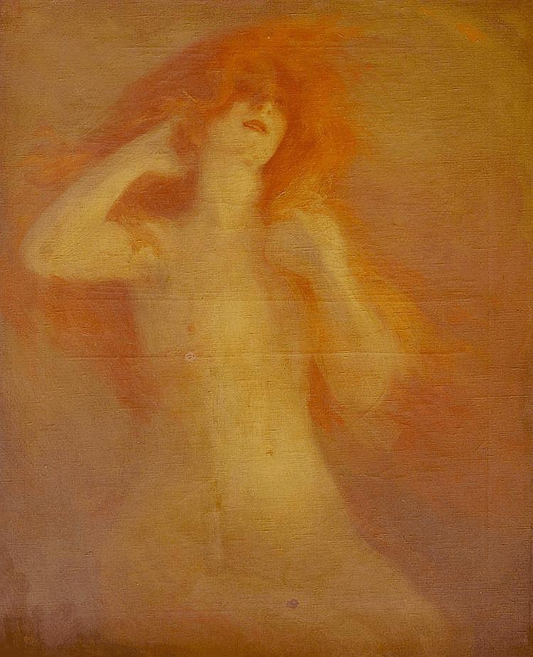 Georges PICARD (1857-1946) Nu aux cheveux de feu. Huile sur toile signée en bas